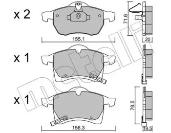 2202580 METELLI Комплект тормозных колодок, дисковый тормоз
