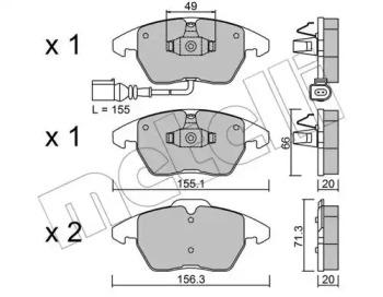 2205480 METELLI Комплект тормозных колодок, дисковый тормоз