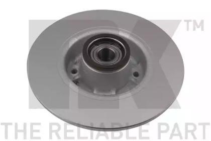313964 NK (Coated) Диск гальмівний задній (з підшипником) Renault Clio 08-/Megane II/Modus 11.02- -1