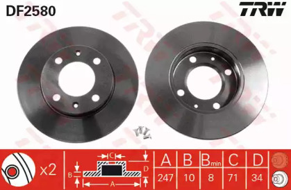 DF2580 TRW Тормозной диск