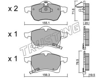 2670 TRUSTING Комплект тормозных колодок, дисковый тормоз