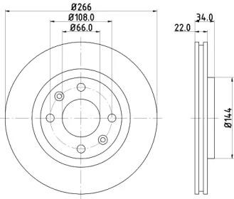 8DD355108351 HELLA Тормозной диск