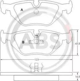 36824 A.B.S. Комплект тормозных колодок, дисковый тормоз