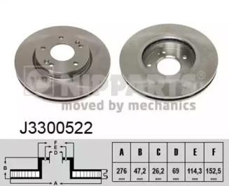 J3300522 NIPPARTS Тормозной диск