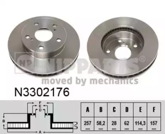 N3302176 NIPPARTS Тормозной диск
