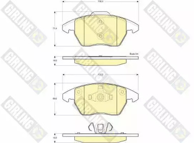 6116052 GIRLING Комплект тормозных колодок, дисковый тормоз