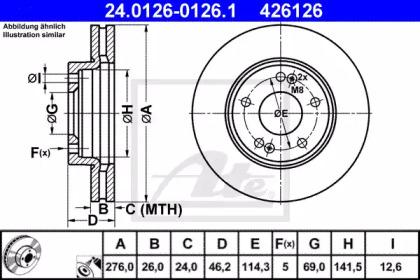 24012601261 ATE Тормозной диск