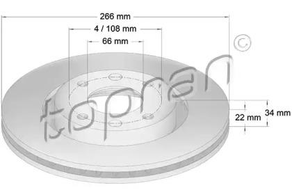 720247 TOPRAN Тормозной диск