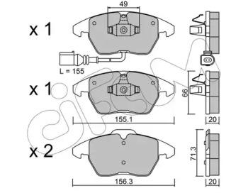 8225480 CIFAM Комплект тормозных колодок, дисковый тормоз