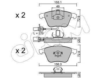 8225491 CIFAM Комплект тормозных колодок, дисковый тормоз