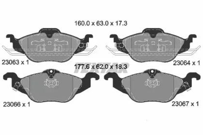 2306302 TEXTAR Гальмівні колодки дискові перед. Opel Astra G 1.2-1.8 98-