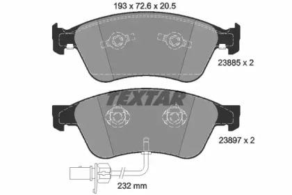 2388501 TEXTAR Комплект тормозных колодок, дисковый тормоз