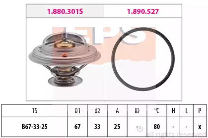 Термостат Bmw, Ford Galaxy /80C/VW Bora,Golf IV,Passat,T IV 2.3-2.8 V6 97/08- EPS 1880301 для авто  с доставкой