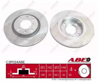 C3P024ABE ABE Диск гальмівний Peugeot Partner 01- -2