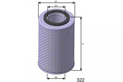 L539 MISFAT Фiльтр масла Bmw 530I E34 3.0 (M30B30) 88.01-91.08, 535I E34 3.5 (M30B35)