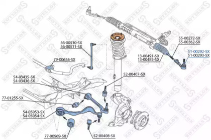 5100292SX STELLOX Наконечник поперечной рулевой тяги -1