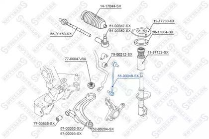 5600346SX STELLOX 56-00346-sx_тяга стабилизатора переднего!mitsubishi outlander 2.0di-d2.2di-d2.4 16v 07>
