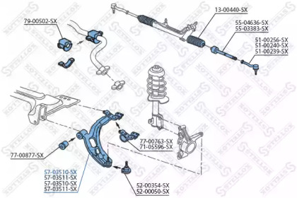 5703510SX STELLOX Рычаг независимой подвески колеса, подвеска колеса