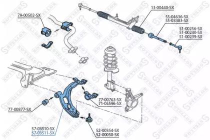 5703511SX STELLOX Рычаг независимой подвески колеса, подвеска колеса
