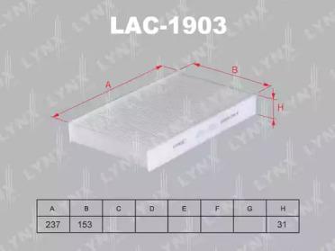 LAC1903 LYNXAUTO Фильтр, воздух во внутренном пространстве