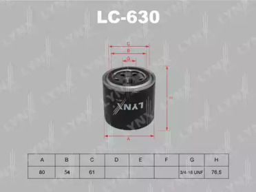 LC630 LYNXAUTO Масляный фильтр