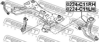 0224C11LH FEBEST Рычаг независимой подвески колеса, подвеска колеса -1