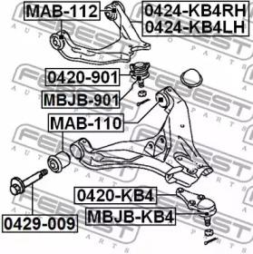 0424KB4LH FEBEST Рычаг независимой подвески колеса, подвеска колеса -1