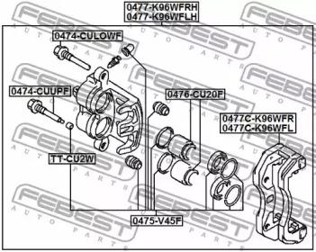 0475V45F FEBEST Ремкомплект, тормозной суппорт -1
