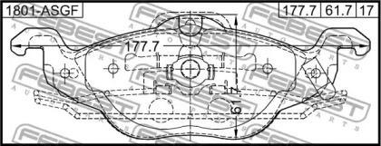 1801ASGF FEBEST Комплект тормозных колодок, дисковый тормоз -1