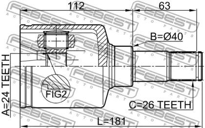 Шрус Внутренний Левый 24Х40Х26 (Ford Transit Connect (Tc7) 2002-) Febest FEBEST 2111TC7LH для авто  с доставкой-1