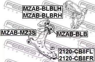 2120CB8FL FEBEST Несущий / направляющий шарнир -1