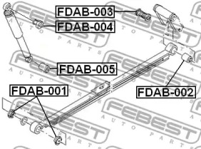 Сайлентблок заднего амортизатора TRANSIT TT9 06- FEBEST FDAB005-1
