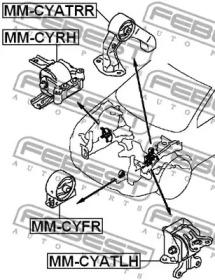 Подушка двигателя перед. AT/MT FEBEST MMCYFR-1