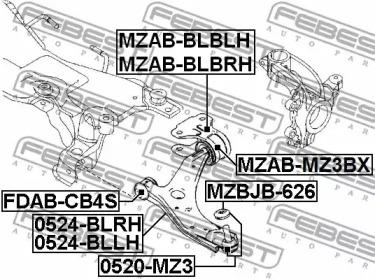 MZABBLBLH FEBEST Подвеска, рычаг независимой подвески колеса -1