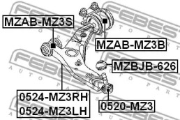 MZABMZ3S FEBEST Подвеска, рычаг независимой подвески колеса -1