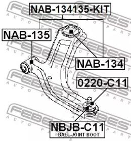 NAB134 FEBEST Подвеска, рычаг независимой подвески колеса -1