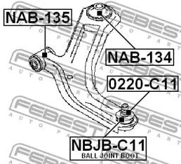 NBJBC11 FEBEST ремонтный комплект, несущие / направляющие шарниры -1