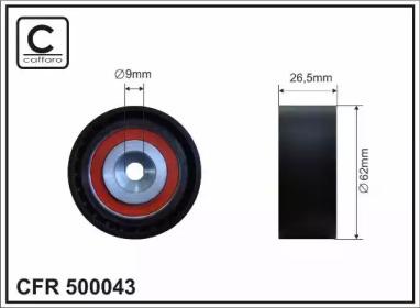 500043 CAFFARO 62x9x26,5 Ролік натяж. паска Ford Fiesta 1.25/1.4 ZETEC 95-97 Mazda 121 1.25 96-