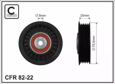 8222 CAFFARO 75,5x8x20 Ролик обвідний паска привідного VAG 1.9TDI 00-