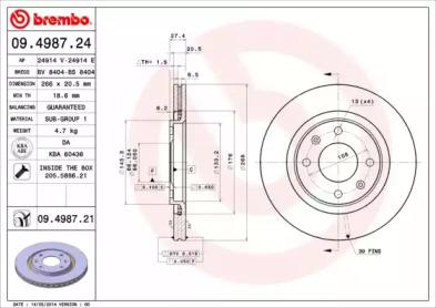 09498724 BREMBO Тормозной диск