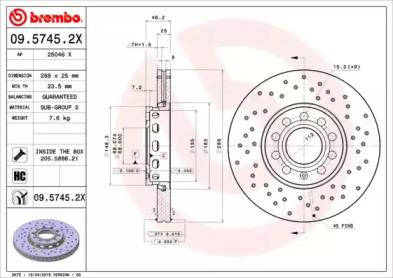 0957452X BREMBO TARCZA HAMULC. AUDI A6  94-04