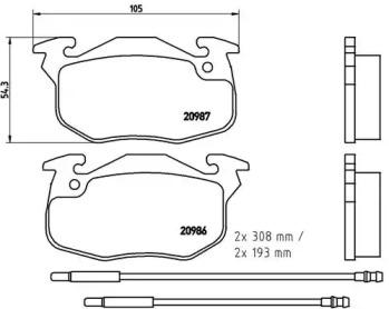 P61044 BREMBO Комплект тормозных колодок, дисковый тормоз