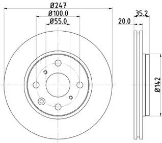 MDC1733 MINTEX Тормозной диск