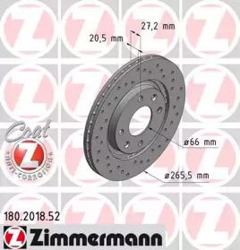 180201852 ZIMMERMANN Тормозной диск