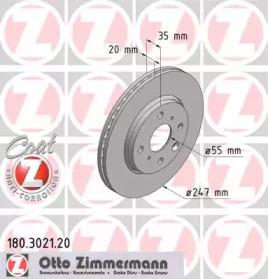 180302120 ZIMMERMANN TARCZA HAMULC. TOYOTA AYGO  05- (+ABS)