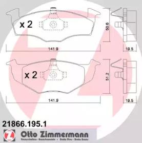 218661951 ZIMMERMANN Гальмівні колодки P VW Golf III/Vento 95>